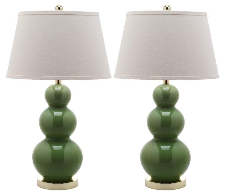 Pamela Gourd Lamp Set, Green