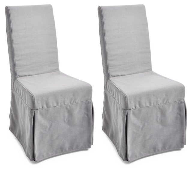 Gray Adrianna Slipcover Chairs, Pair