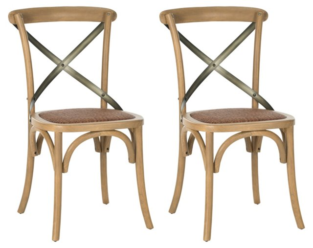 Almond Bonnie Dining Chairs, Pair