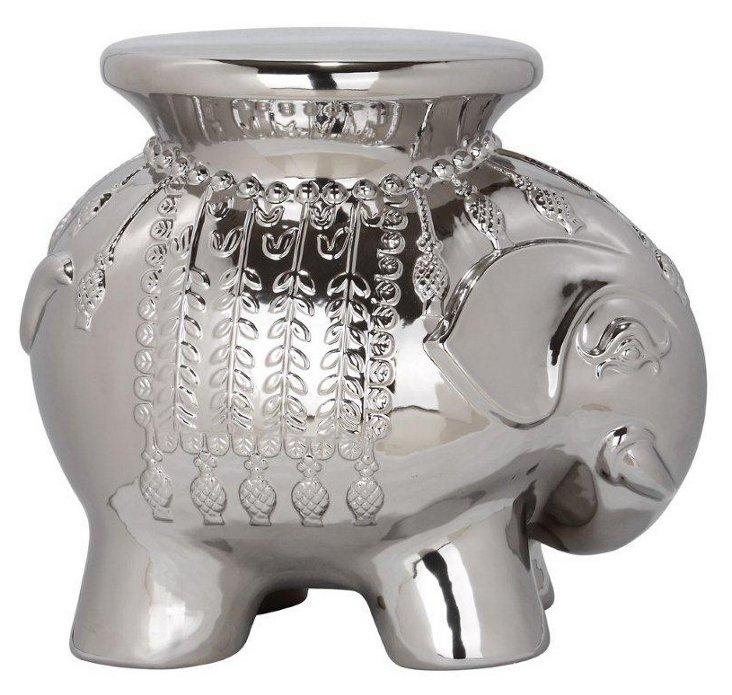 Ceramic Elephant Stool, Silver
