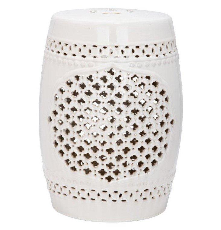 Demetria Ceramic Garden Stool, Cream