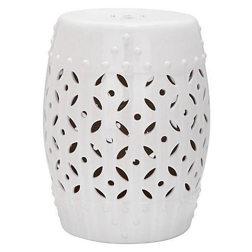 Aurora Ceramic Garden Stool, White