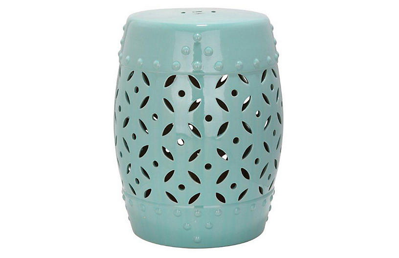 Aurora Ceramic Garden Stool - Teal
