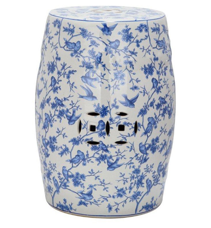 Bridget Ceramic Garden Stool, Blue/White