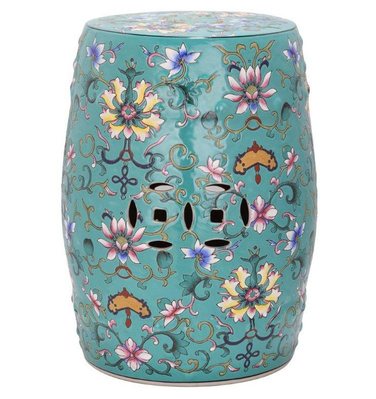 Eva Ceramic Garden Stool, Teal/Multi