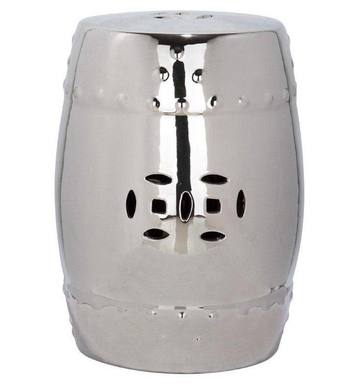 Naimh Ceramic Garden Stool, Silver