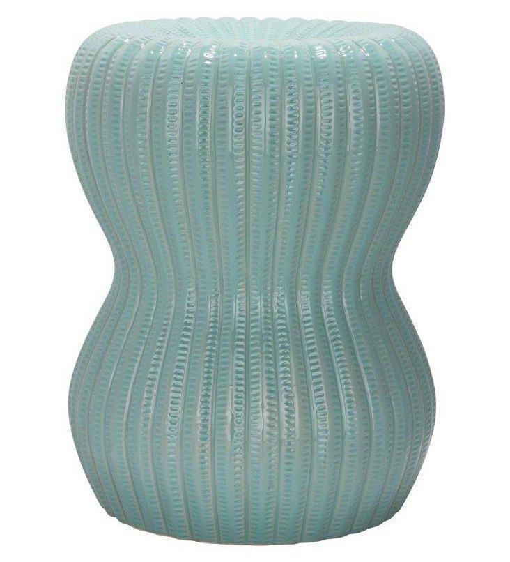 Parker Ceramic Garden Stool, Aqua