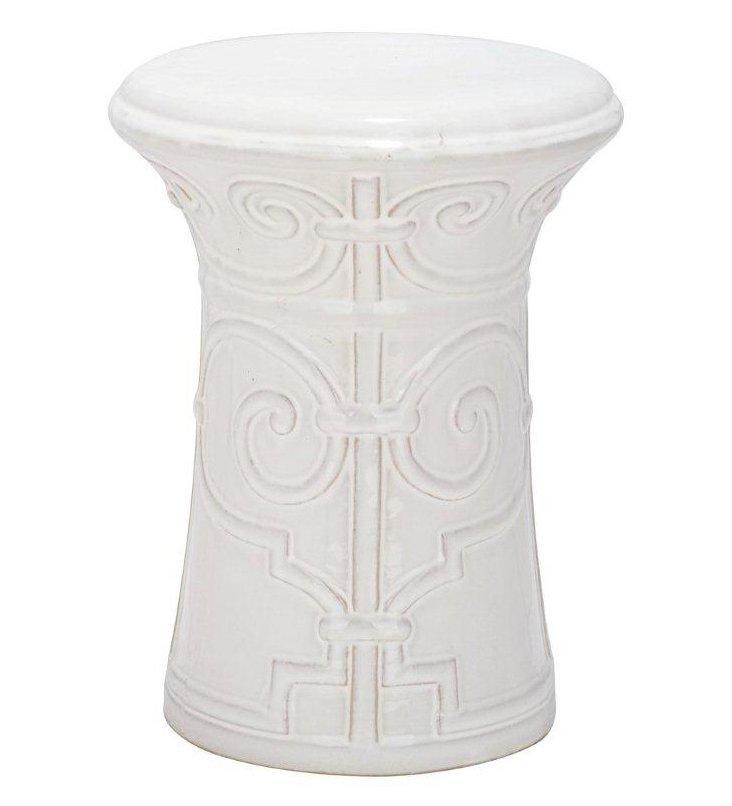 Tallulah Ceramic Garden Stool, White