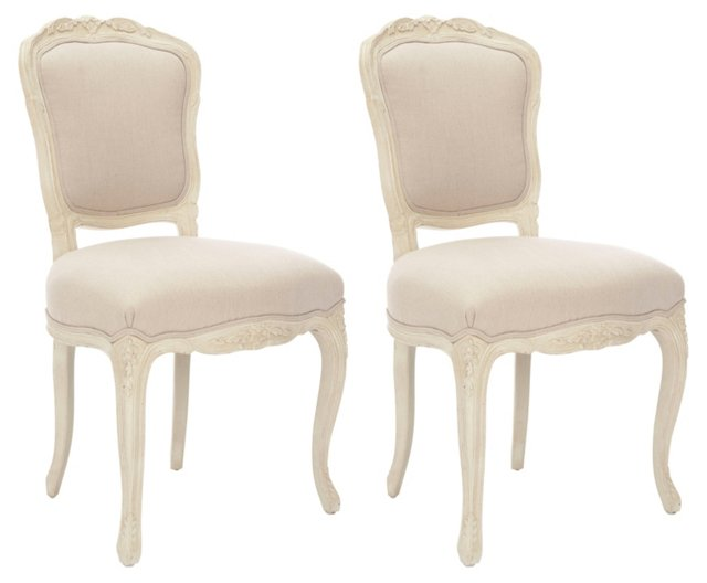 Ecru Amalia Side Chairs, Pair