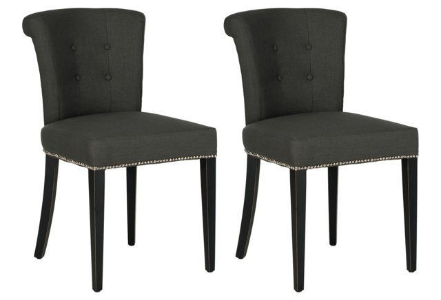 Heather Charcoal Murphy Ring Chairs, Pair