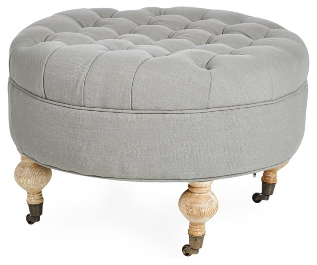 James Round Ottoman, Gray