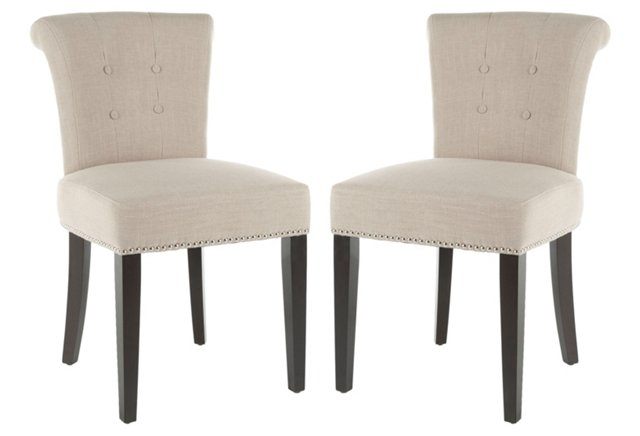 Light Beige Juliet Side Chairs, Pair