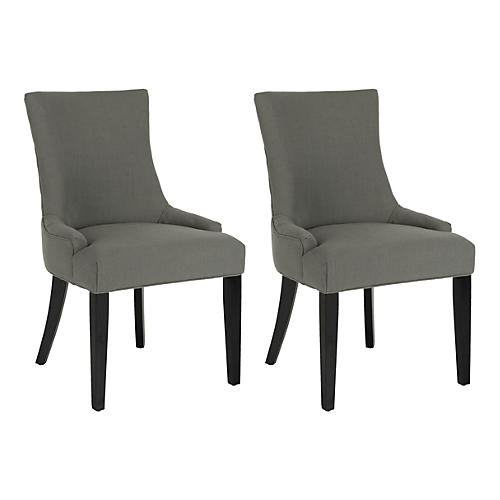 Linen Charcoal Lina Chairs, Pair