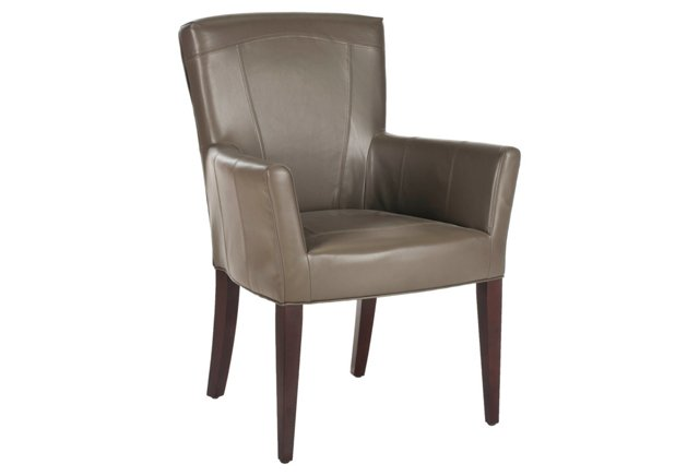 Georgette Leather Armchair, Taupe
