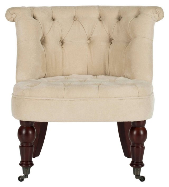 Jeanette Tufted Chair, Oatmeal
