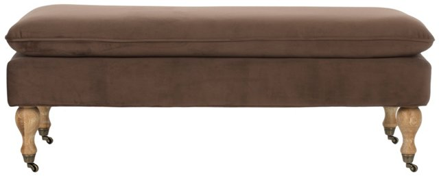 Nikolette Pillow-Top Bench, Chocolate