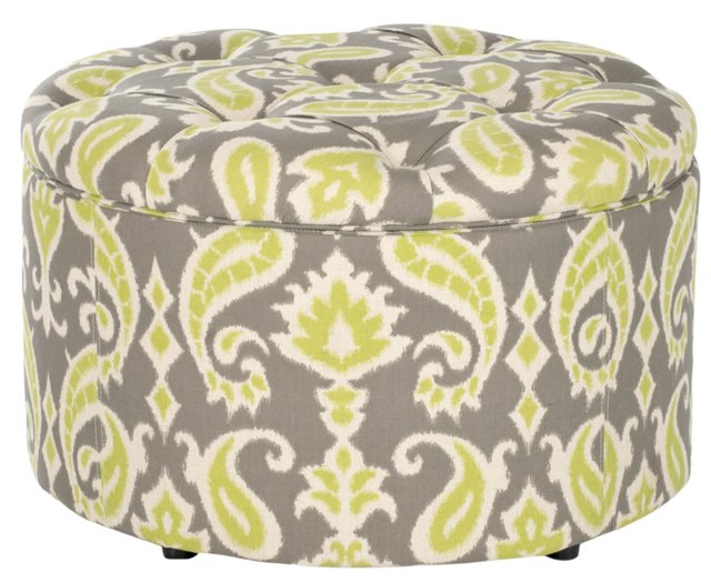 Josie Shoe Ottoman, Gray/Lime