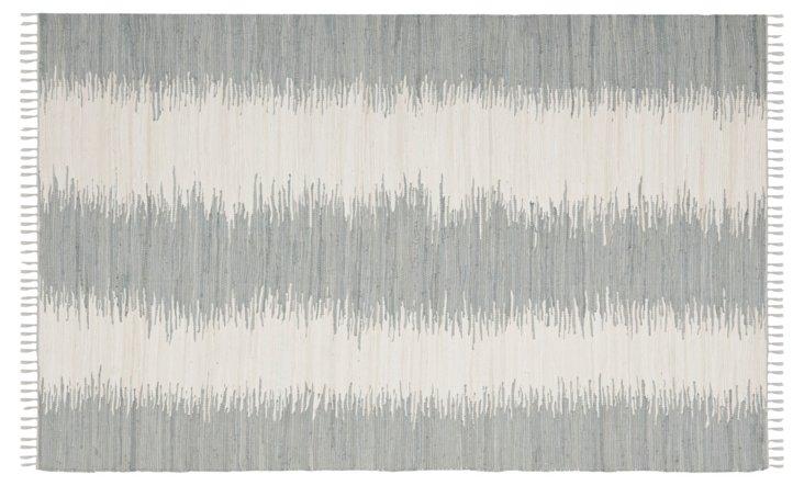 Uma Flat-Weave Rug, Gray/Ivory