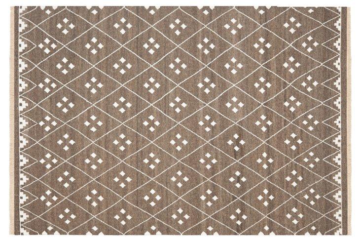 7'x7' Annie Flat-Weave Rug, Brown/Ivory