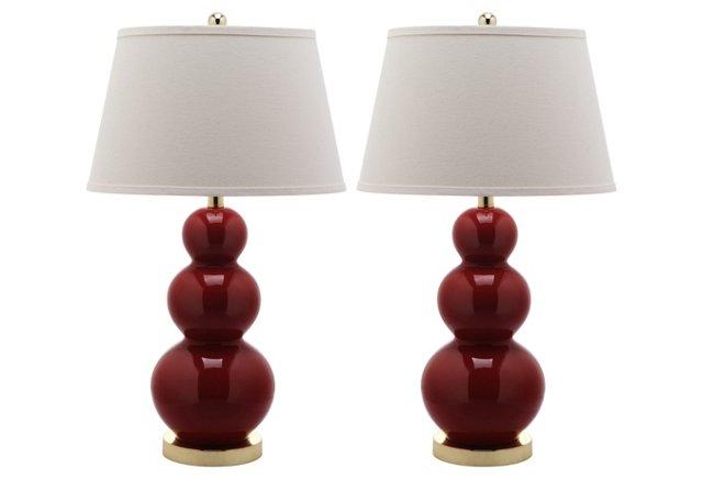 Pamela Gourd Lamp Set, Red