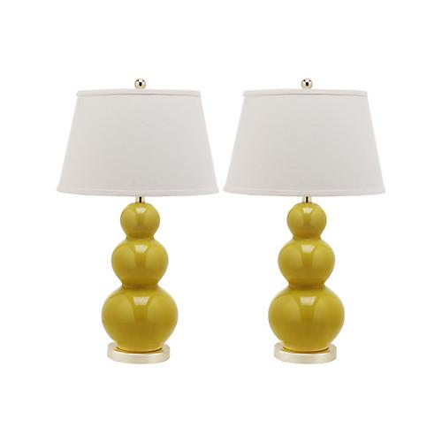 S/2 Pamela Gourd Lamp Set, Yellow