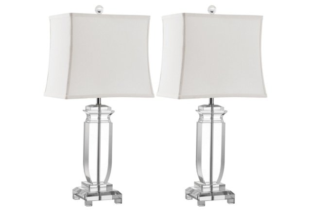 Olympia Crystal Table Lamp Set, Clear
