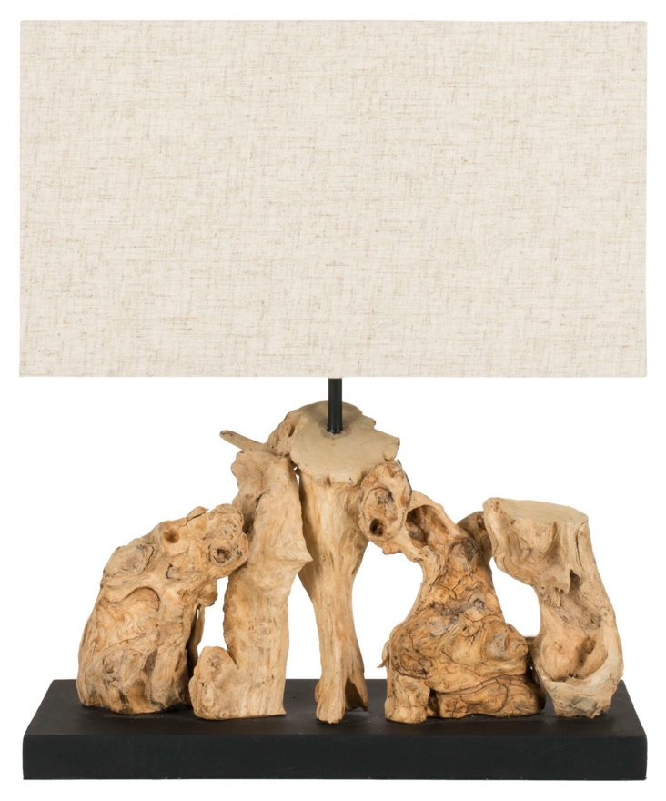 Aragon Accent Table Lamp, Light Root Wood