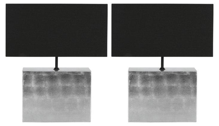 Metallic Table Lamp Set, Ombré Silver