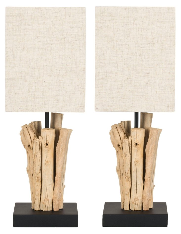 Monterey Table Lamp Set, Bleached Wood