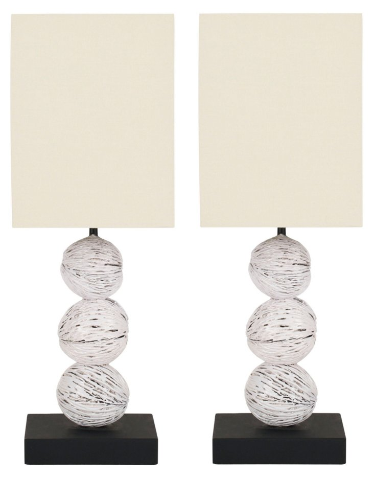 Pacheco Table Lamp Set, White
