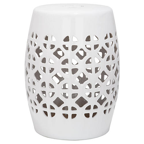 Janera Ceramic Garden Stool, White