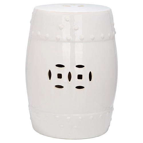 Naimh Ceramic Garden Stool, Off-White