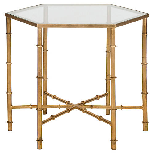 Ashton Side Table, Gold/Mirror