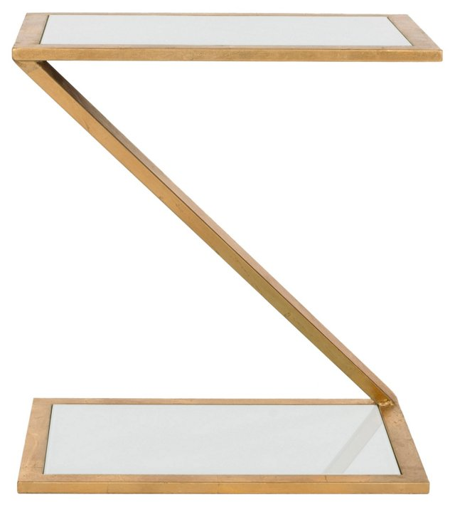 Webb Side Table, Gold/White