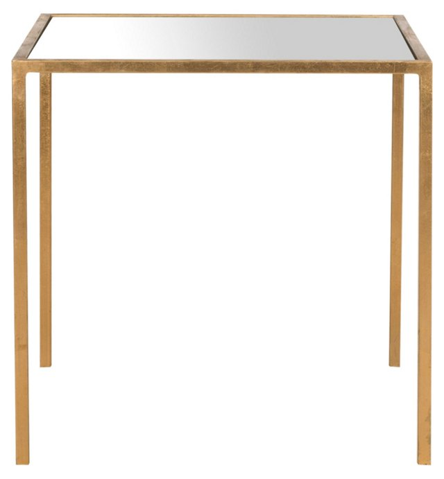 Hayden Side Table, Gold/Mirrored Glass