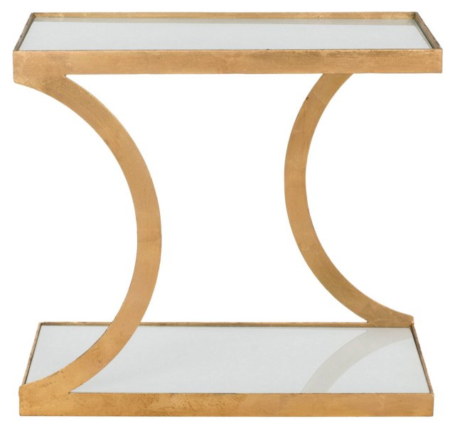Tate Side Table, Gold/White Glass