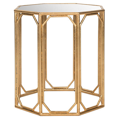 Duffy Side Table, Gold/Mirror
