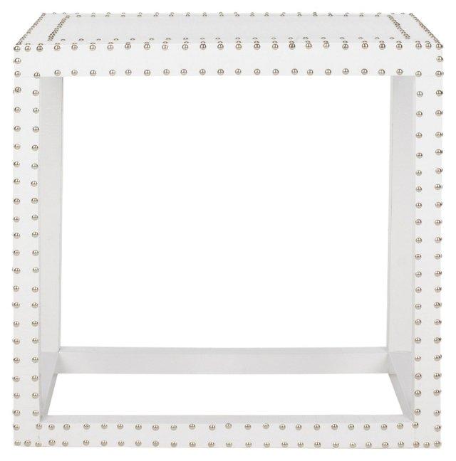 Lila Nailhead Side Table, White
