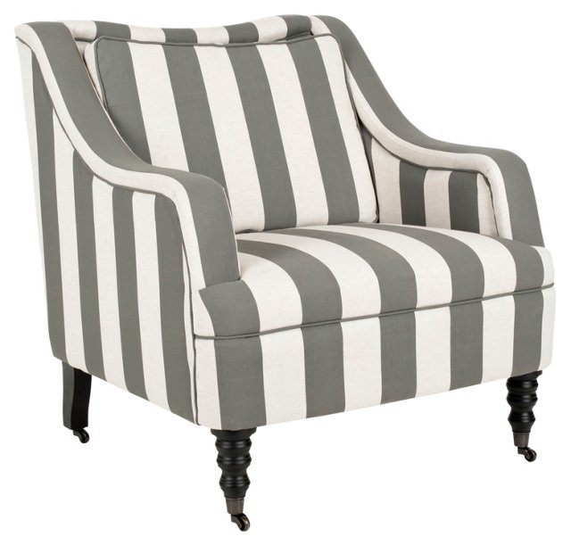 Magnus Striped Armchair, Slate/White