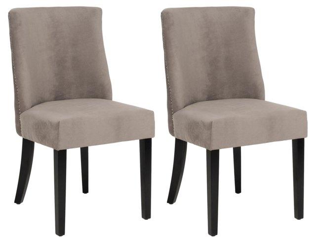 Mushroom Ivy Side Chairs, Pair