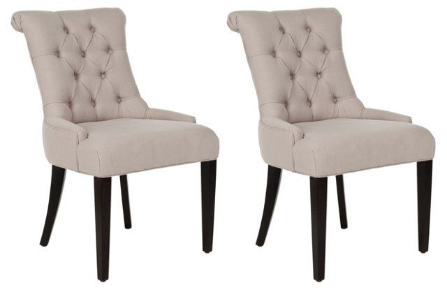 Taupe Poppy Armchairs, Pair