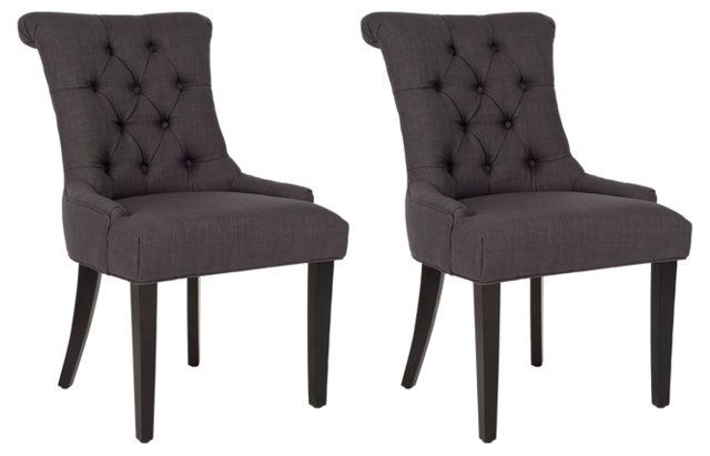 Charcoal Poppy Dining Chairs, Pair