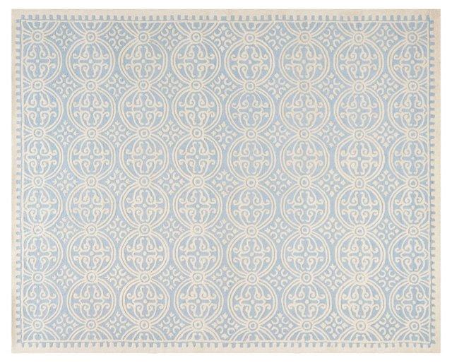 8'x10' Jay Rug, Light Blue/Ivory