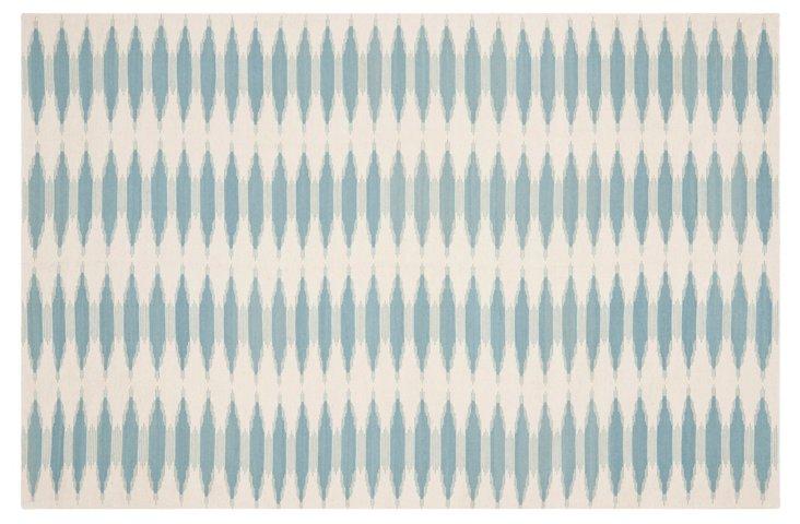 3'x5' Edith Flat-Weave Rug, Sky/Ivory