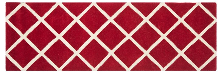 Rue Rug, Red/Ivory