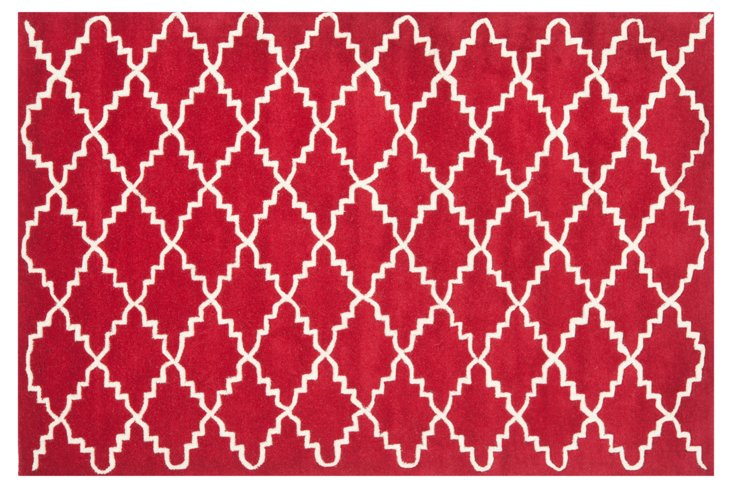 Rexford Rug, Red/Ivory