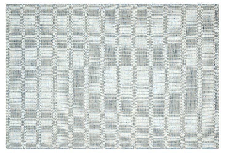 6'x9' Harper Soumak Rug, Light Blue