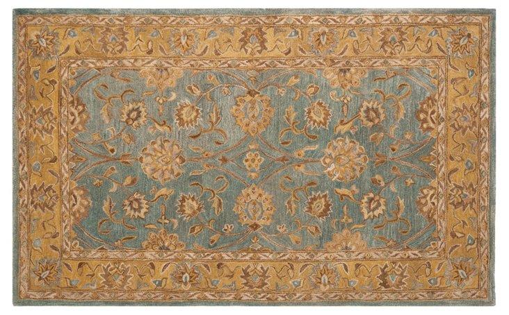 6'x9' Lake Rug, Blue/Wheat