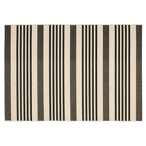 Keelan Outdoor Rug, Black/Bone