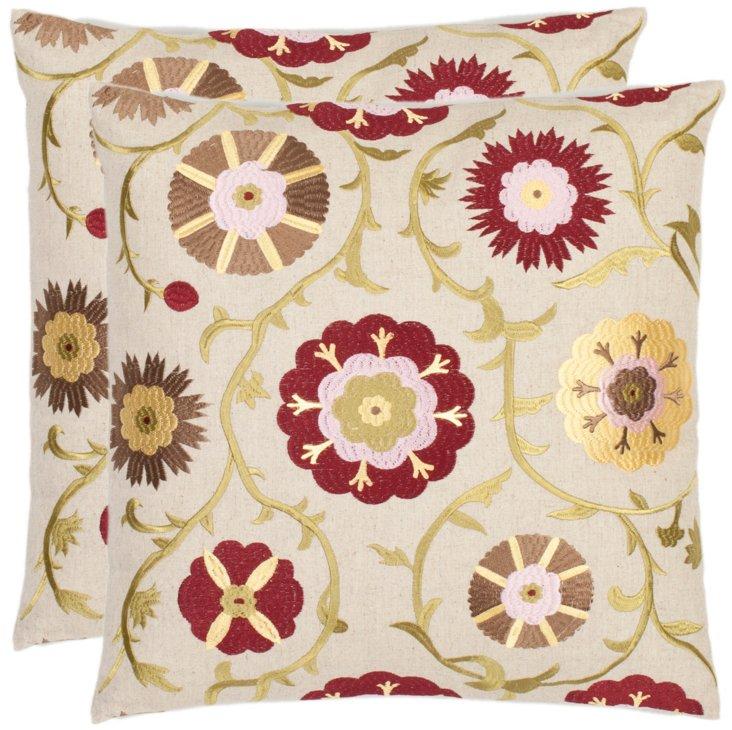 S/2 Suzani 18x18 Pillows, Multi